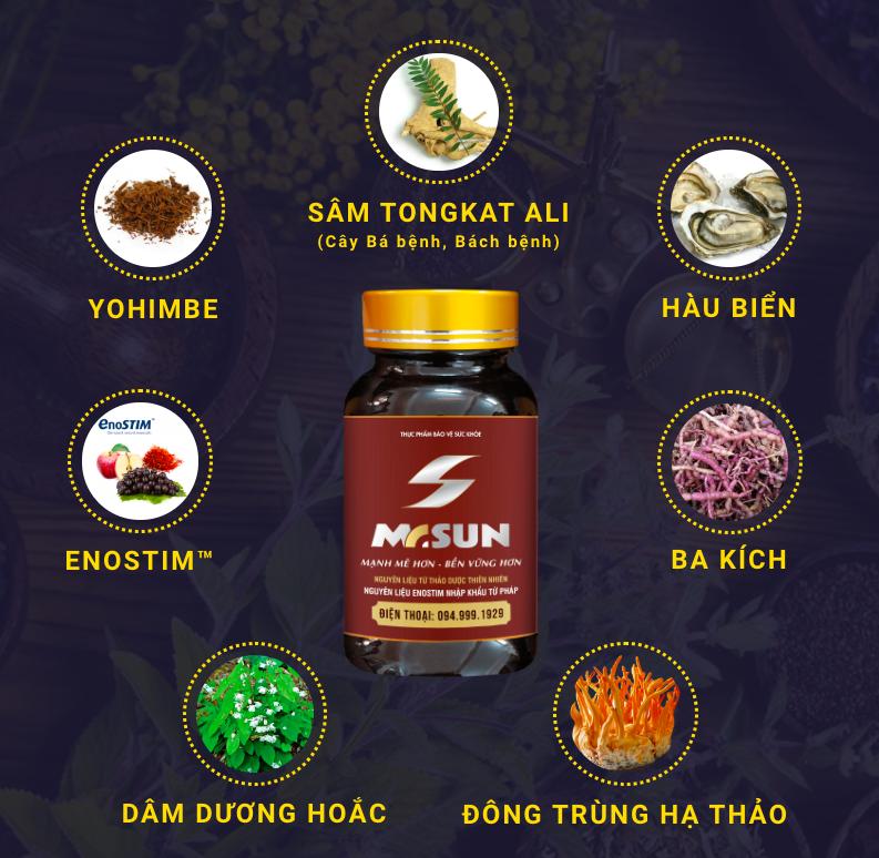 Các thành phần thảo dược quý hiếm trong viên uống Mr Sun mang lại tác dụng cao trong tăng cường sinh lý nam