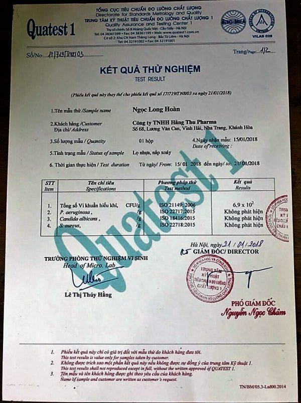 Sản phẩm Ngọc Long Hoàn đã được chứng nhận chất lượng sản phẩm