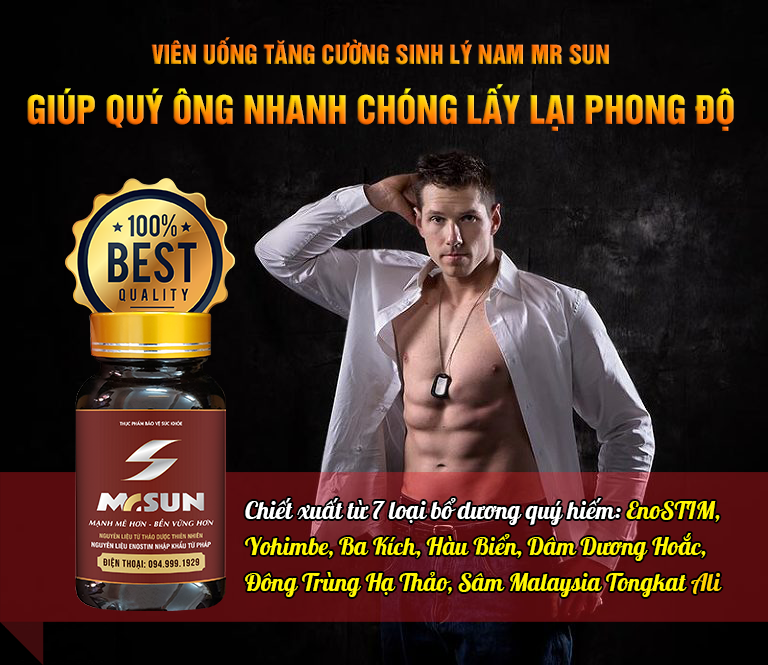 Viên uống Mr Sun giúp nam giới nhanh chóng lấy lại đỉnh cao phong độ