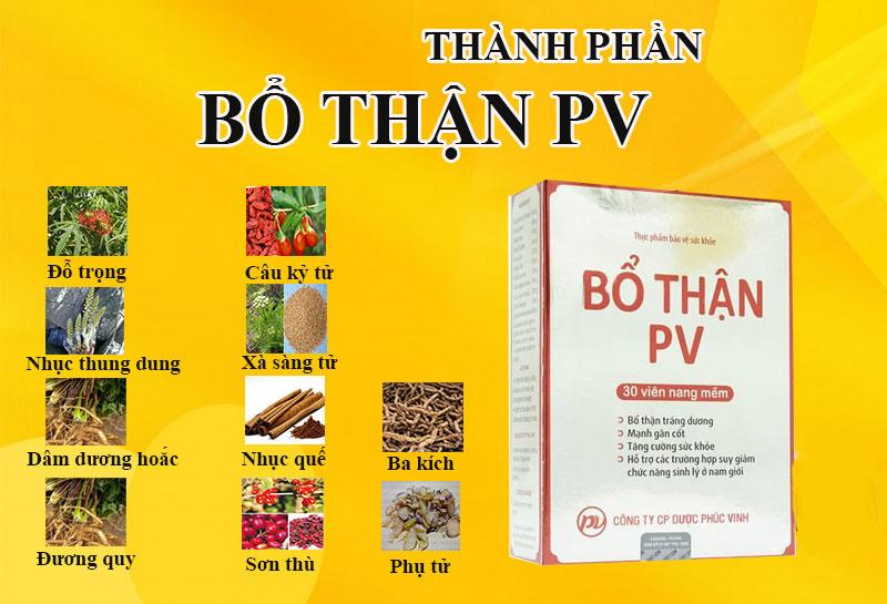 Thành phần thuốc bổ thận PV