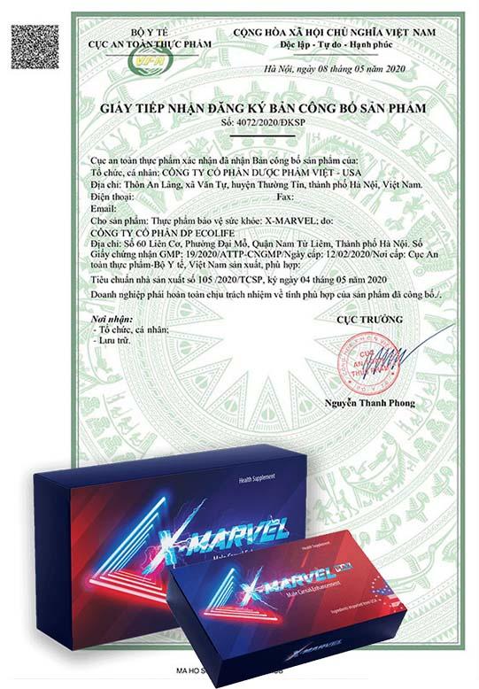 Viên ngậm X-MARVEL có đầy đủ giấy tờ đảm bảo chất lượng của sản phẩm